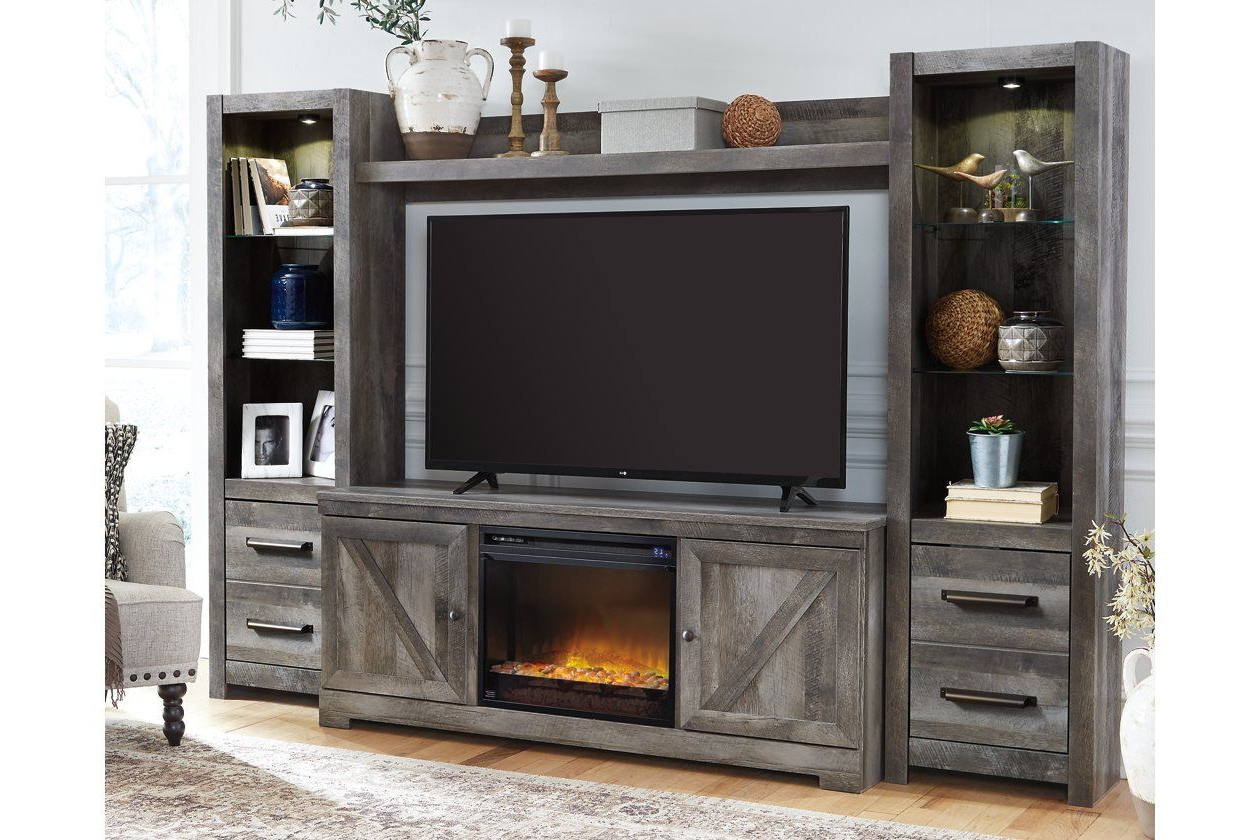 Latest Modern Farmhouse Fireplace Credenza Tv Stands Rustic Gray Finish Within Wynnlow 4 Piece Entertainment Center With Electric (View 4 of 10)