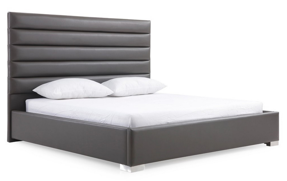 Latest Modrest Lucy Grey Leatherette King Bed (oversized)vig For Lucy Cane Grey Wide Tv Stands (View 19 of 25)