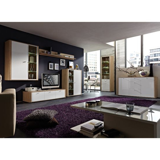 Latest Monza Canadian Oak & Gloss White Living Room Set (View 7 of 10)