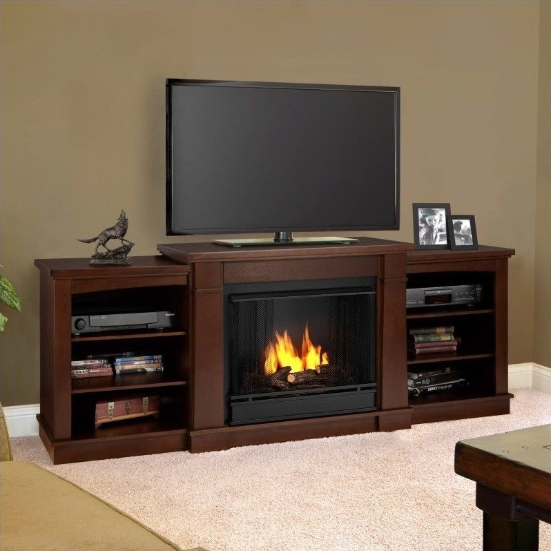 Latest Real Flame Hawthorne Gel Fireplace Tv Stand In Dark With Regard To Electric Fireplace Tv Stands With Shelf (View 7 of 10)