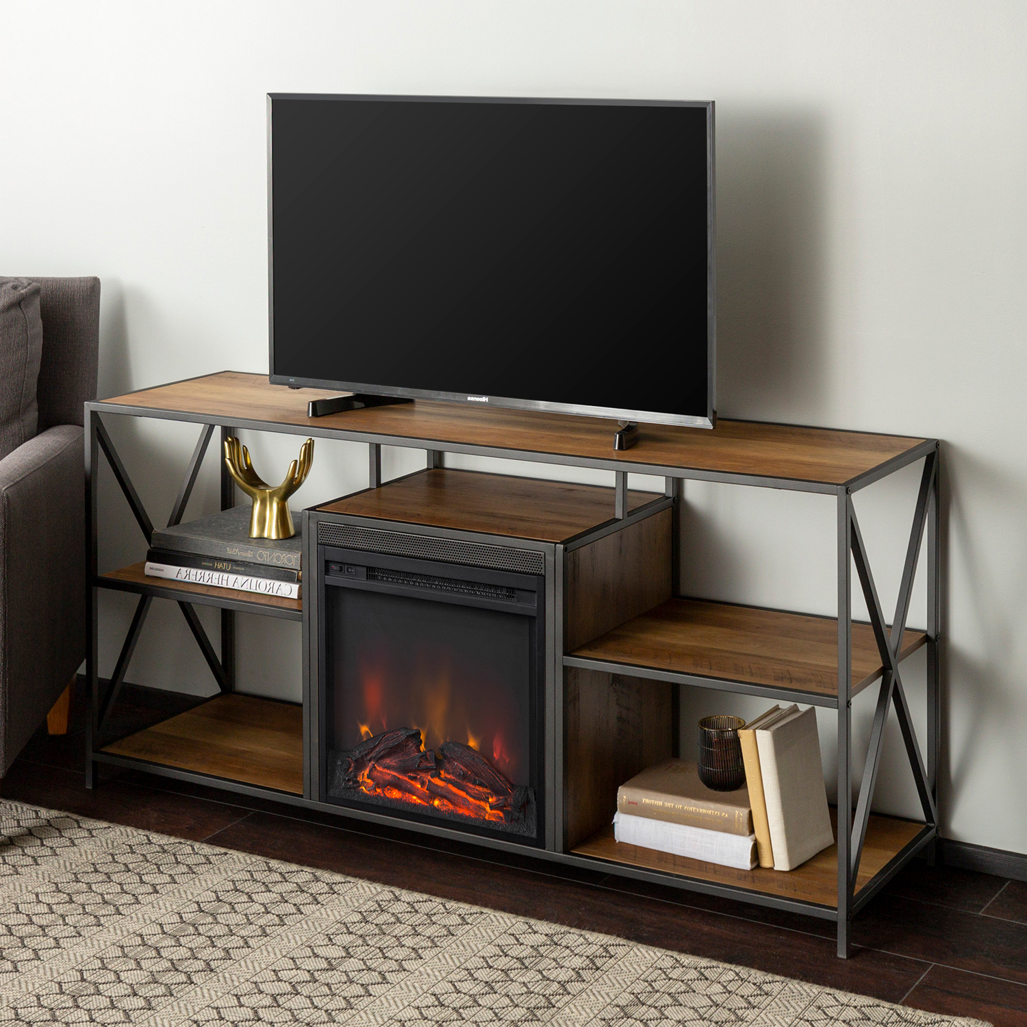 Latest Rustic Oak Tv Stand With Fireplace – Pier1 Regarding Urban Rustic Tv Stands (View 8 of 10)