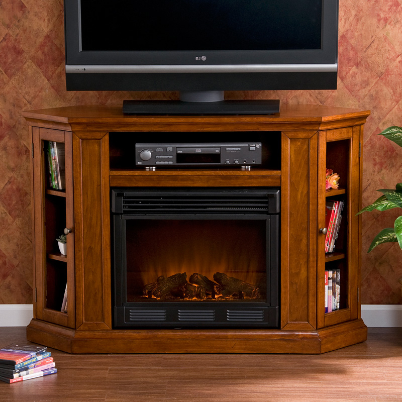 Latest Southern Enterprises Claremont Brown Mahogany Media Intended For Electric Fireplace Tv Stands With Shelf (View 3 of 10)