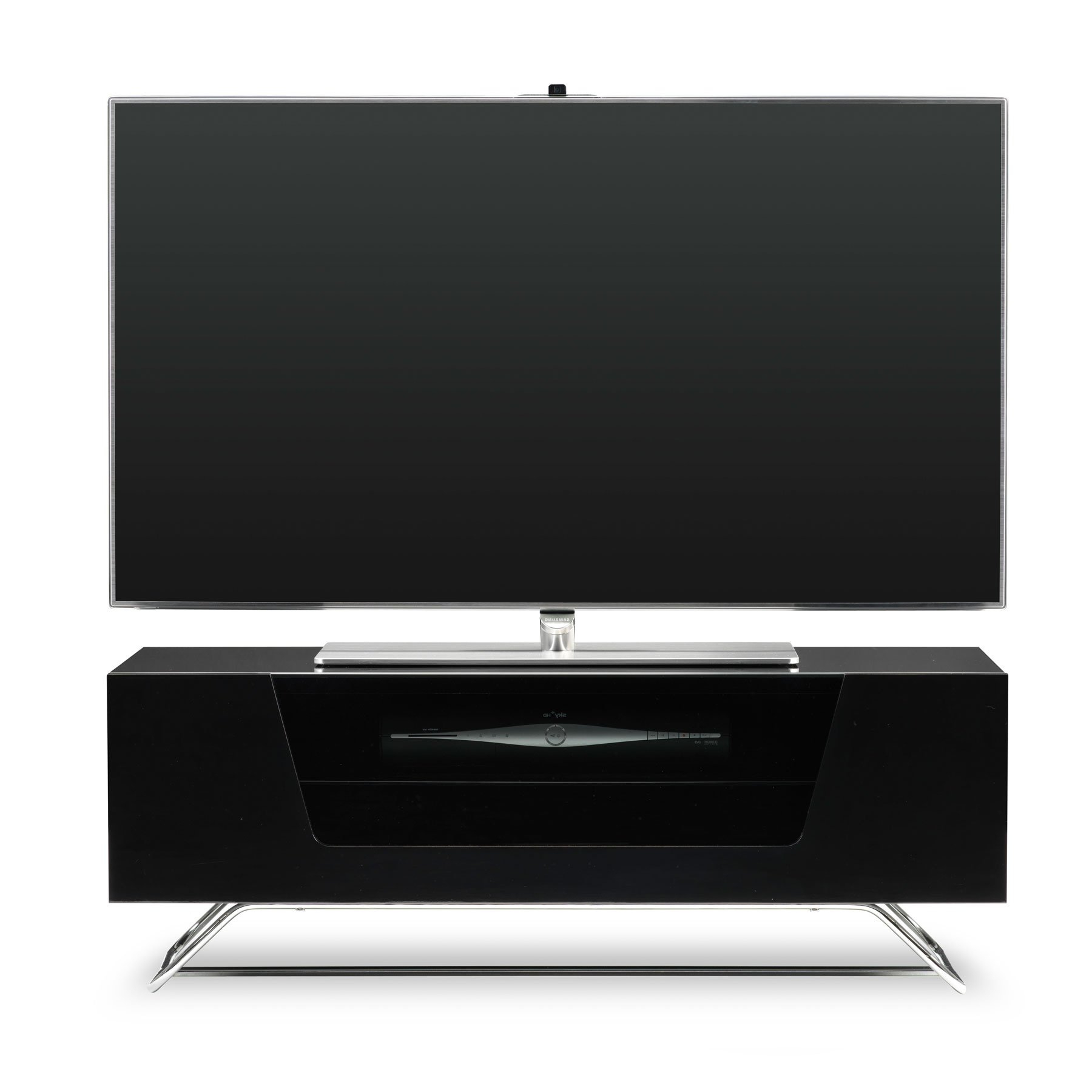 """Latest Tracy Tv Stands For Tvs Up To 50"""" Throughout Alphason Chromium 2 100cm Black Tv Stand For Up To 50"""" Tvs (View 24 of 25)"""