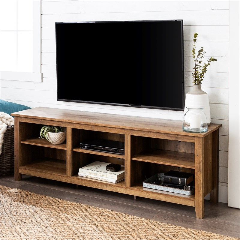 Latest Tribeca Oak Tv Media Stand With Regard To 70 Inch Wood Media Tv Stand Storage Console In Rustic Oak (View 8 of 10)