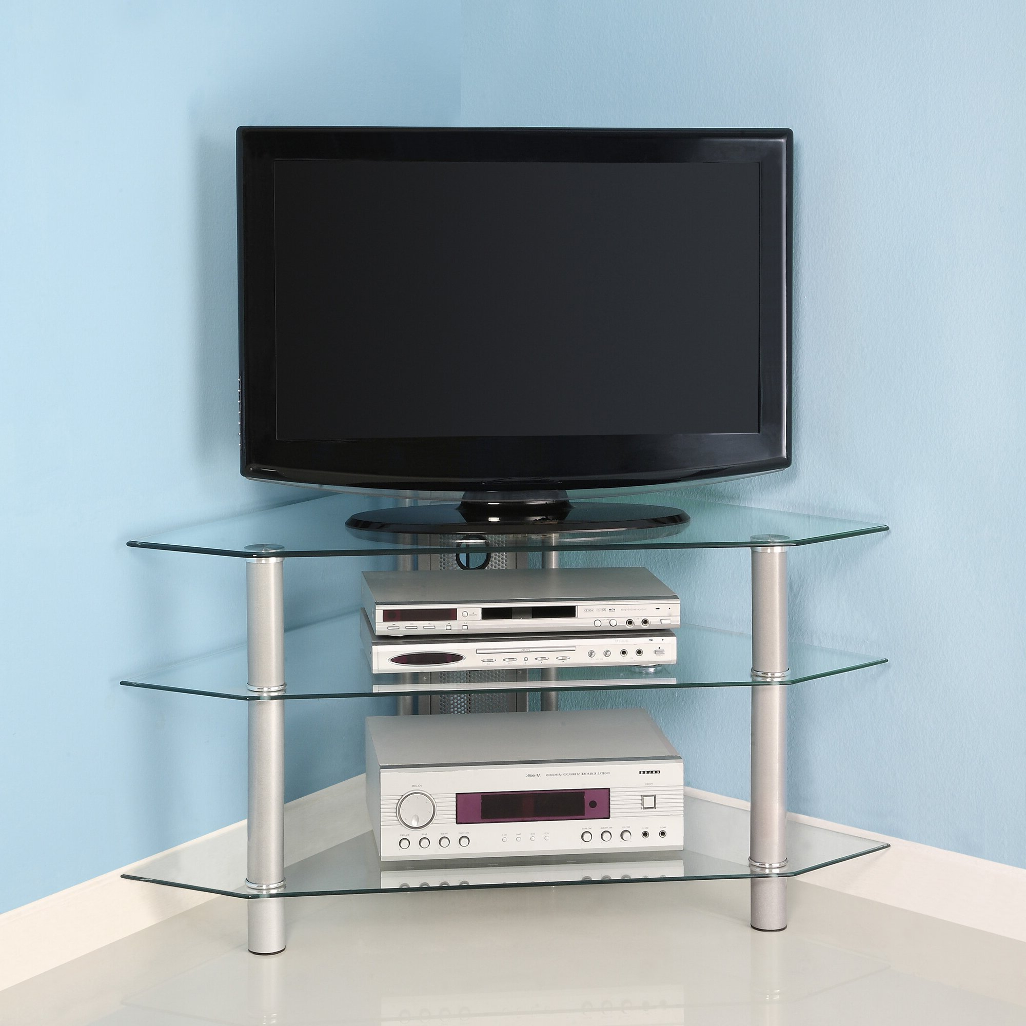 Latest Varick Gallery Guzman Glass Corner Tv Stand & Reviews Intended For Hex Corner Tv Stands (View 10 of 25)