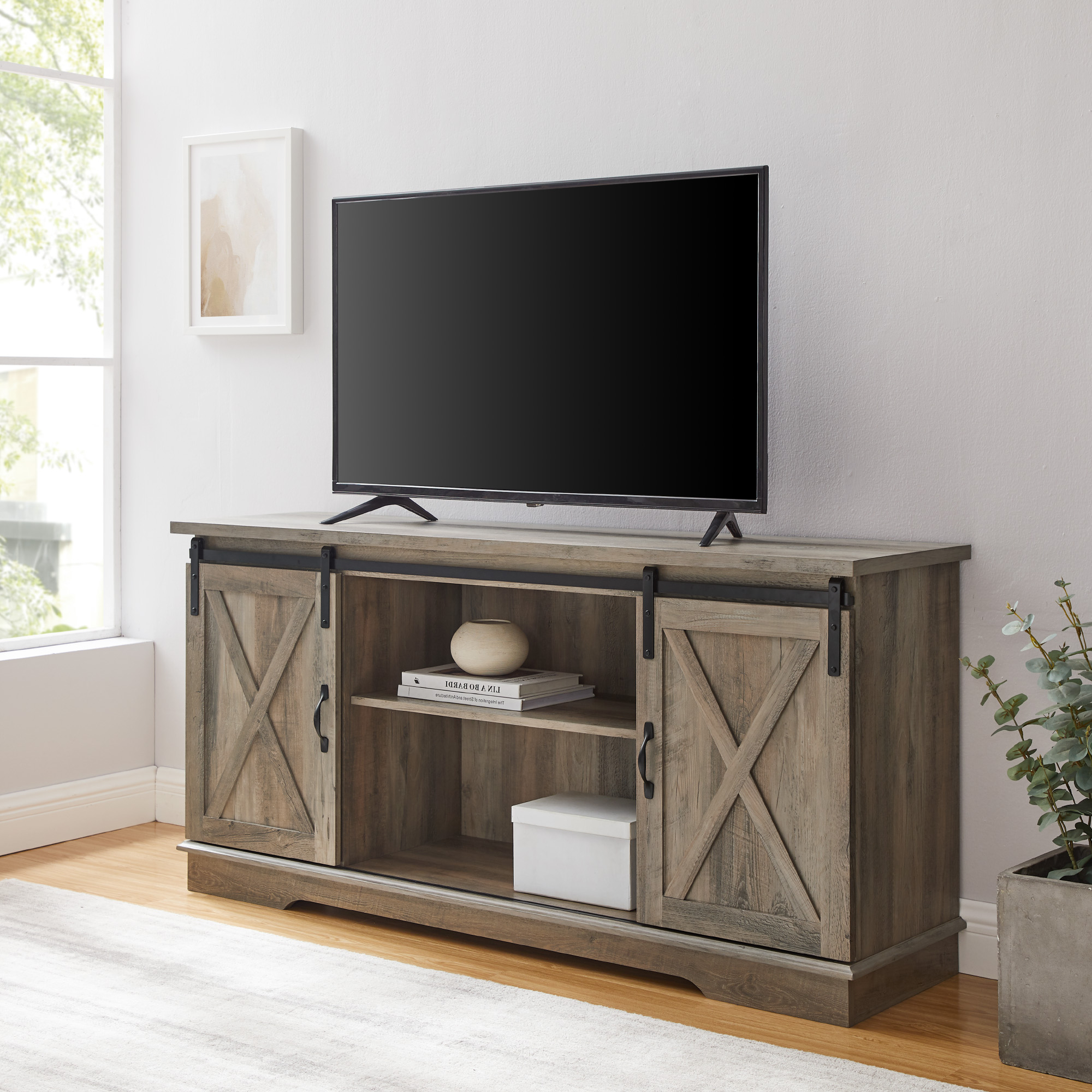 """Latest Woven Paths Farmhouse Sliding Barn Door Tv Stand For Tvs Regarding Calea Tv Stands For Tvs Up To 65"""" (View 2 of 25)"""