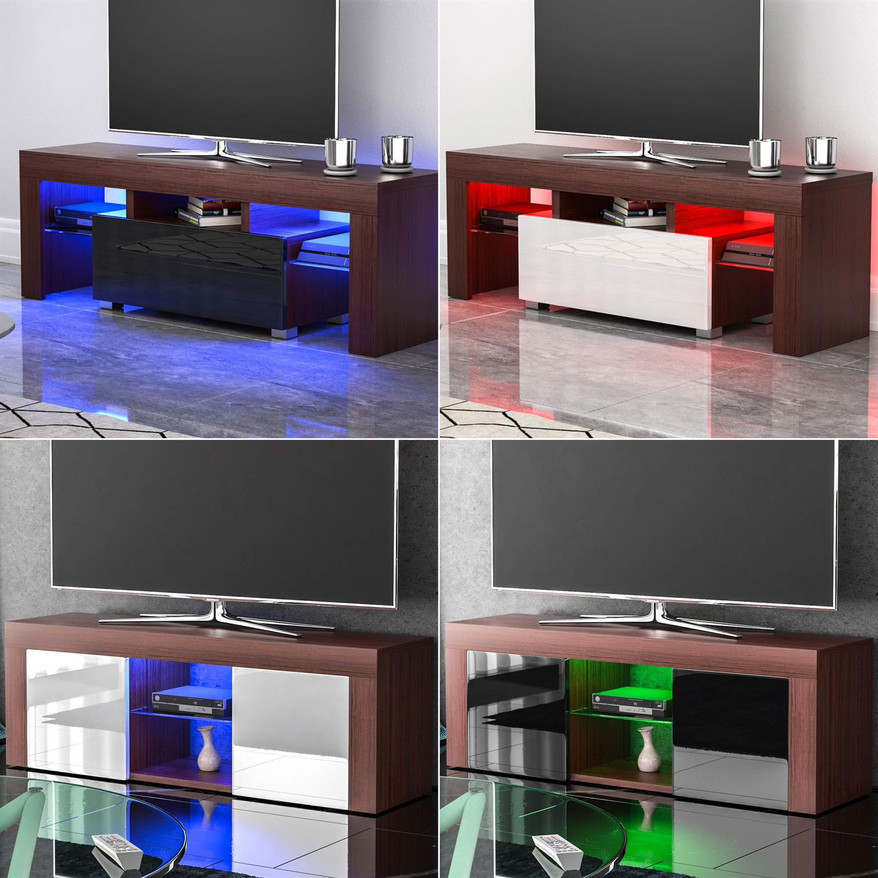 Led Tv Stand Cabinet Unit Drawer Gloss Matte Mdf Throughout Newest Solo 200 Modern Led Tv Stands (View 9 of 10)