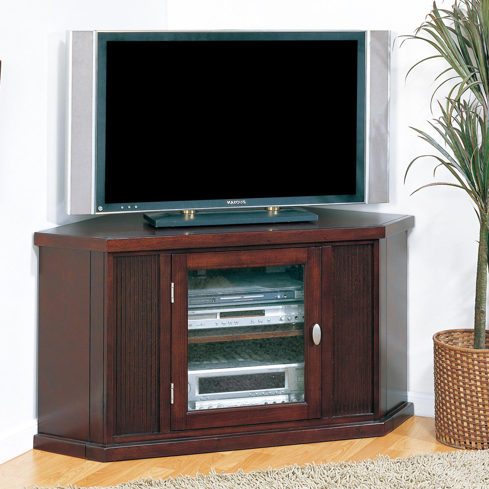 """Leick Home Riley Holliday 46"""" Corner Tv Stand For Tv's Up Throughout Latest Millen Tv Stands For Tvs Up To 60"""" (View 7 of 25)"""
