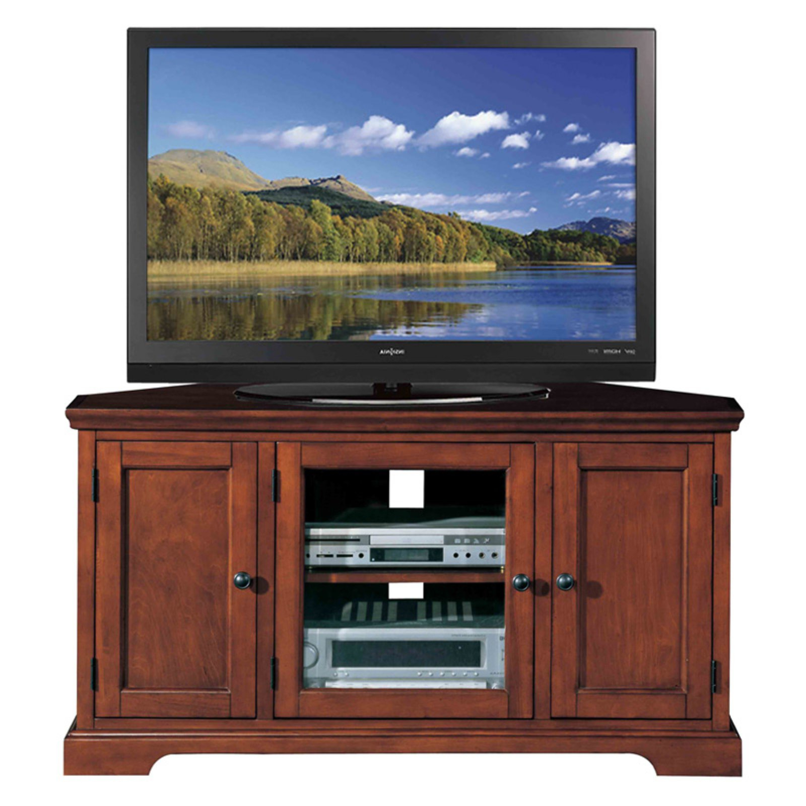 """Leick Home Westwood 46"""" Corner Tv Stand W/storage For Tv's With Regard To Trendy Mclelland Tv Stands For Tvs Up To 50"""" (View 5 of 25)"""