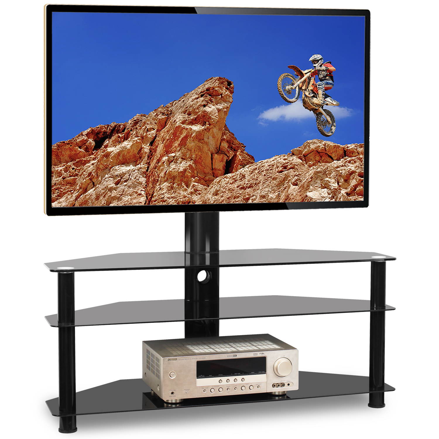 """Leonid Tv Stands For Tvs Up To 50"""" Intended For Favorite 5rcom Floor Tv Stand With Swivel Mount For Flat Curved (View 7 of 25)"""