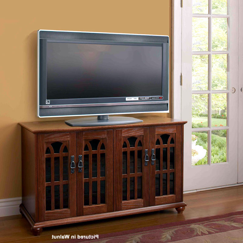 """Leslie Dame Mission Style 50 Inch Tv Stand With Glass Throughout Trendy Mclelland Tv Stands For Tvs Up To 50"""" (View 18 of 25)"""