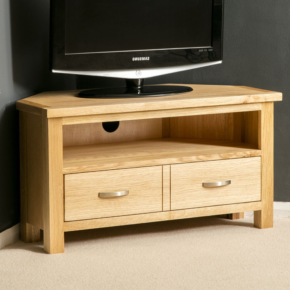 London Oak Corner Tv Stand / Plasma Tv Cabinet / Solid With Most Popular Carbon Tv Unit Stands (View 1 of 10)