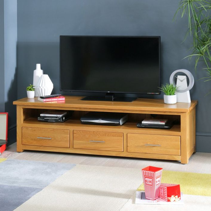 London Solid Oak Large Widescreen Tv Unit – To Fit Tvs Up For Most Current Cotswold Widescreen Tv Unit Stands (View 2 of 10)