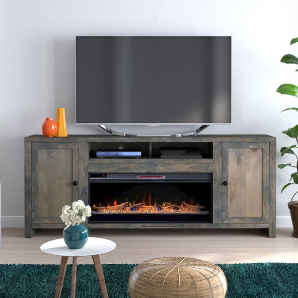 """Loon Peak® Lyla Tv Stand For Tvs Up To 88"""" With Electric Intended For Most Recently Released Lorraine Tv Stands For Tvs Up To 60"""" With Fireplace Included (View 7 of 25)"""