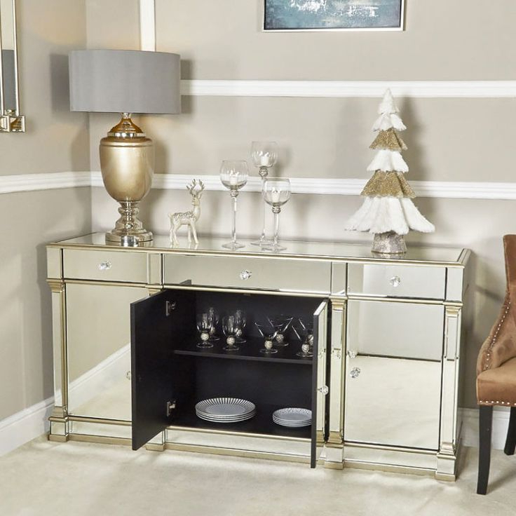 Loren Mirrored Wide Tv Unit Stands For Trendy Athens Gold Mirrored Tv Entertainment Stand – Large (with (View 7 of 10)