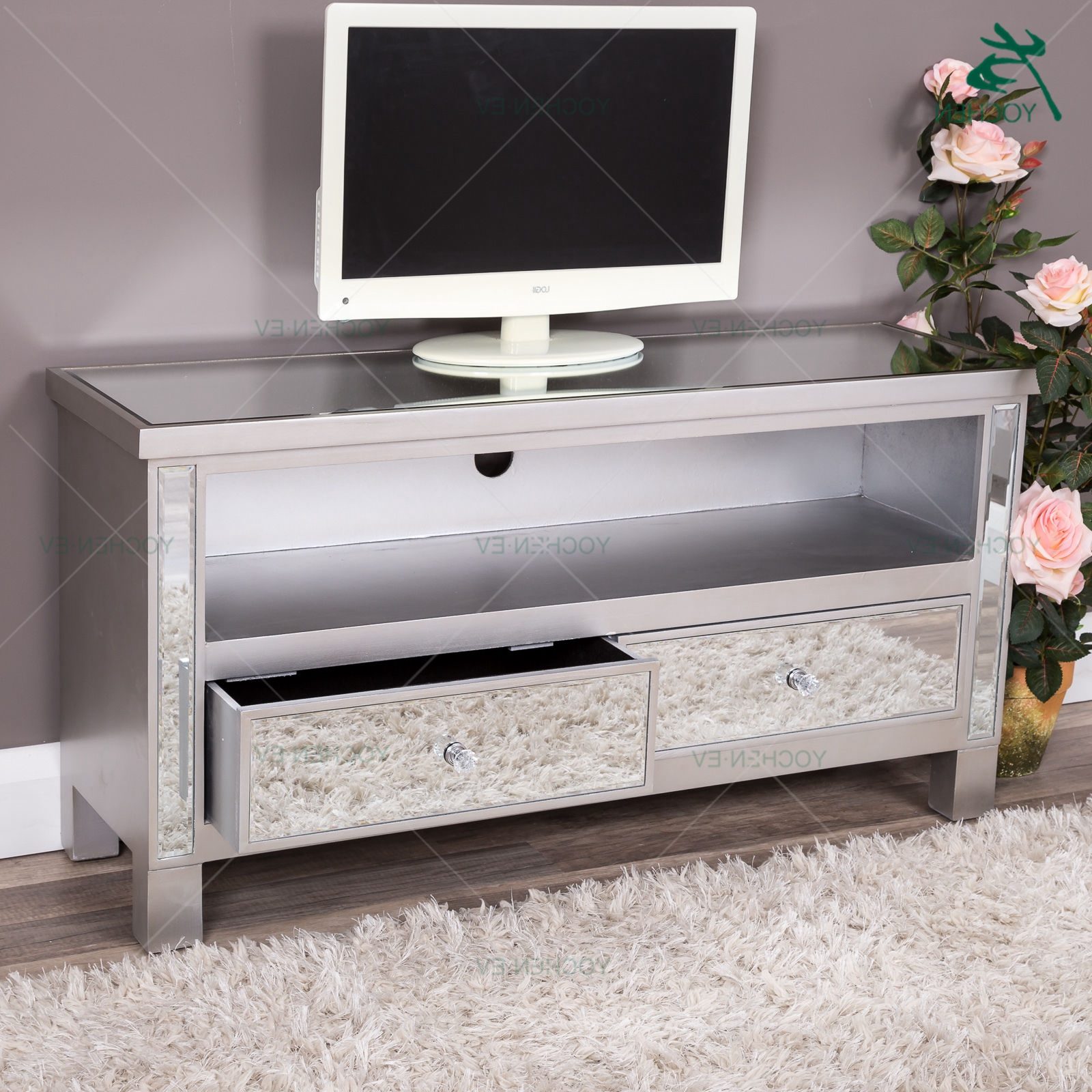 Loren Mirrored Wide Tv Unit Stands Within Most Current Two Drawers Silver Glass Mirrored Tv Stand (View 2 of 10)