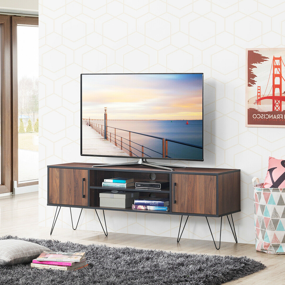 """Lorraine Tv Stands For Tvs Up To 60"""" Regarding 2017 Gymax Tv Stand Media Center Storage Cabinet & Shelf Hold (View 24 of 25)"""