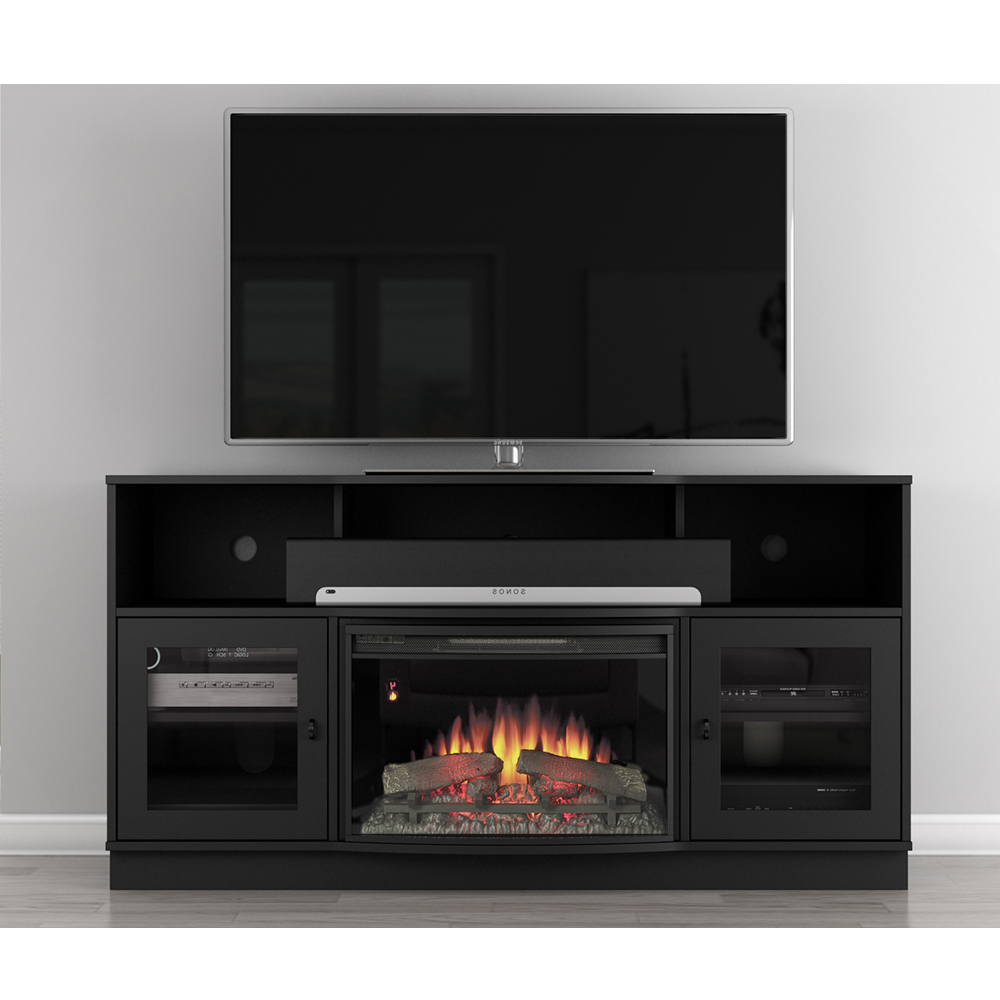 """Lorraine Tv Stands For Tvs Up To 70"""" Throughout Most Popular Furnitech Ft64fb Contemporary Tv Stand Console With (View 15 of 25)"""