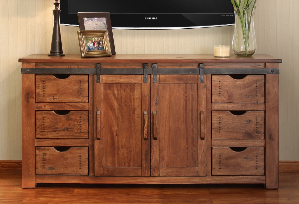 """Lorraine Tv Stands For Tvs Up To 70"""" With Most Recently Released Rustic Sliding Barn Door Style Parota 70"""" Tv Stand (View 25 of 25)"""