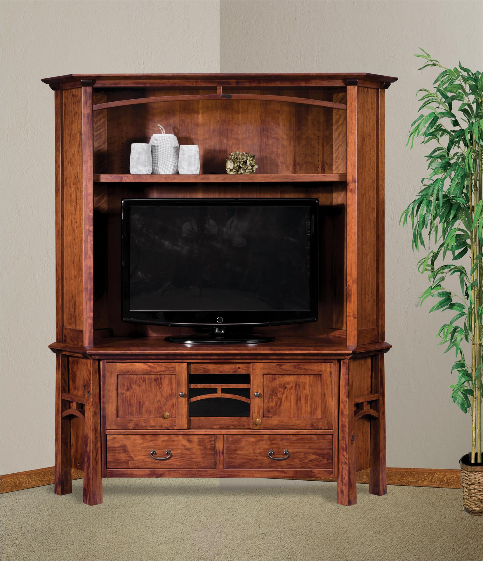 Lucy Cane Cream Corner Tv Stands Throughout Most Recent Amish Artesa Two Piece Corner Entertainment Center With Hutch (View 15 of 25)