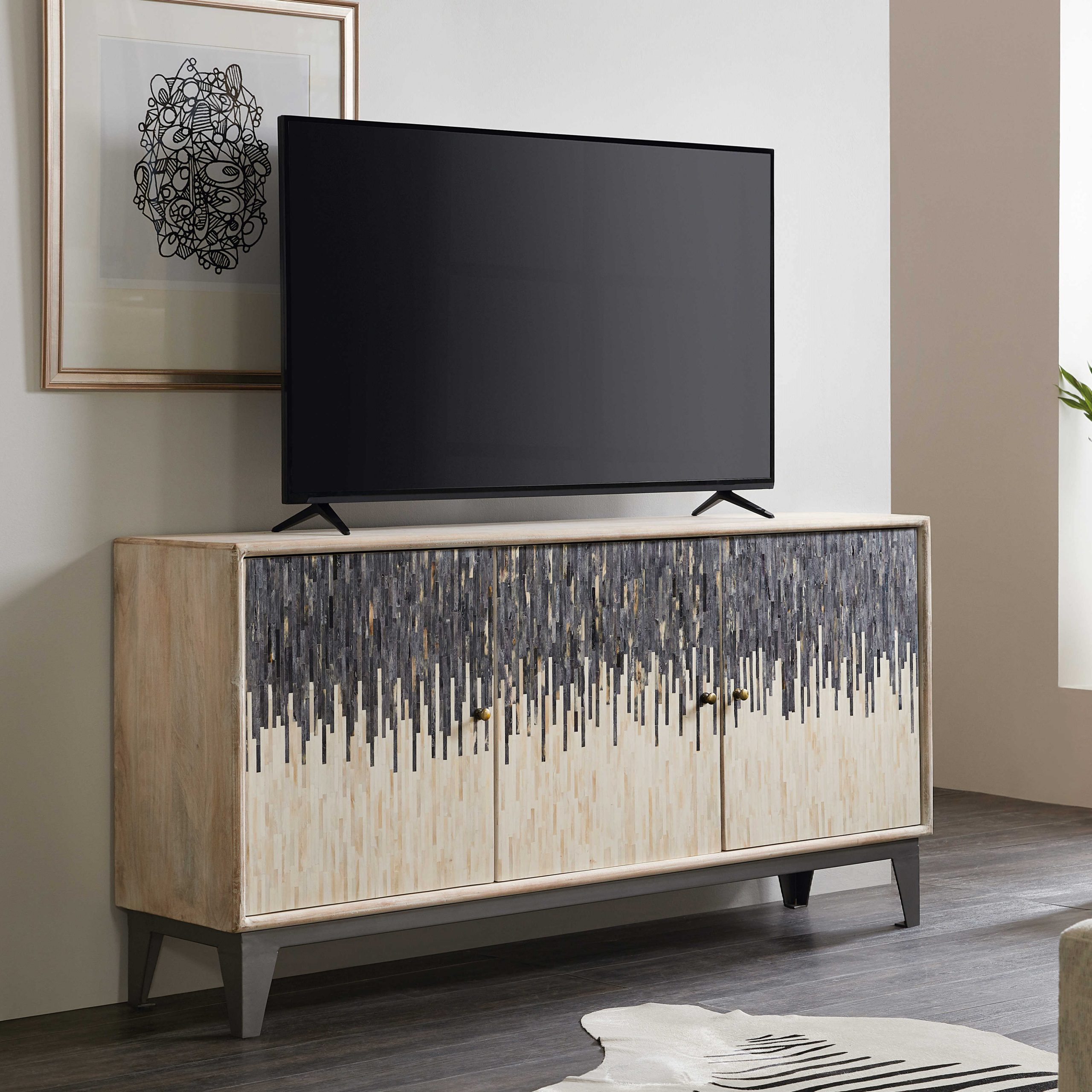 Lucy Cane Grey Wide Tv Stands With Regard To Well Known Hooker Furniture Light Wood 69'' Wide Tv Console (View 4 of 25)