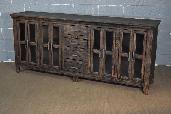 Lucy Cane Grey Wide Tv Stands Within Favorite Rustic Style Solid Wood 82 Display Sideboard Media (View 10 of 25)