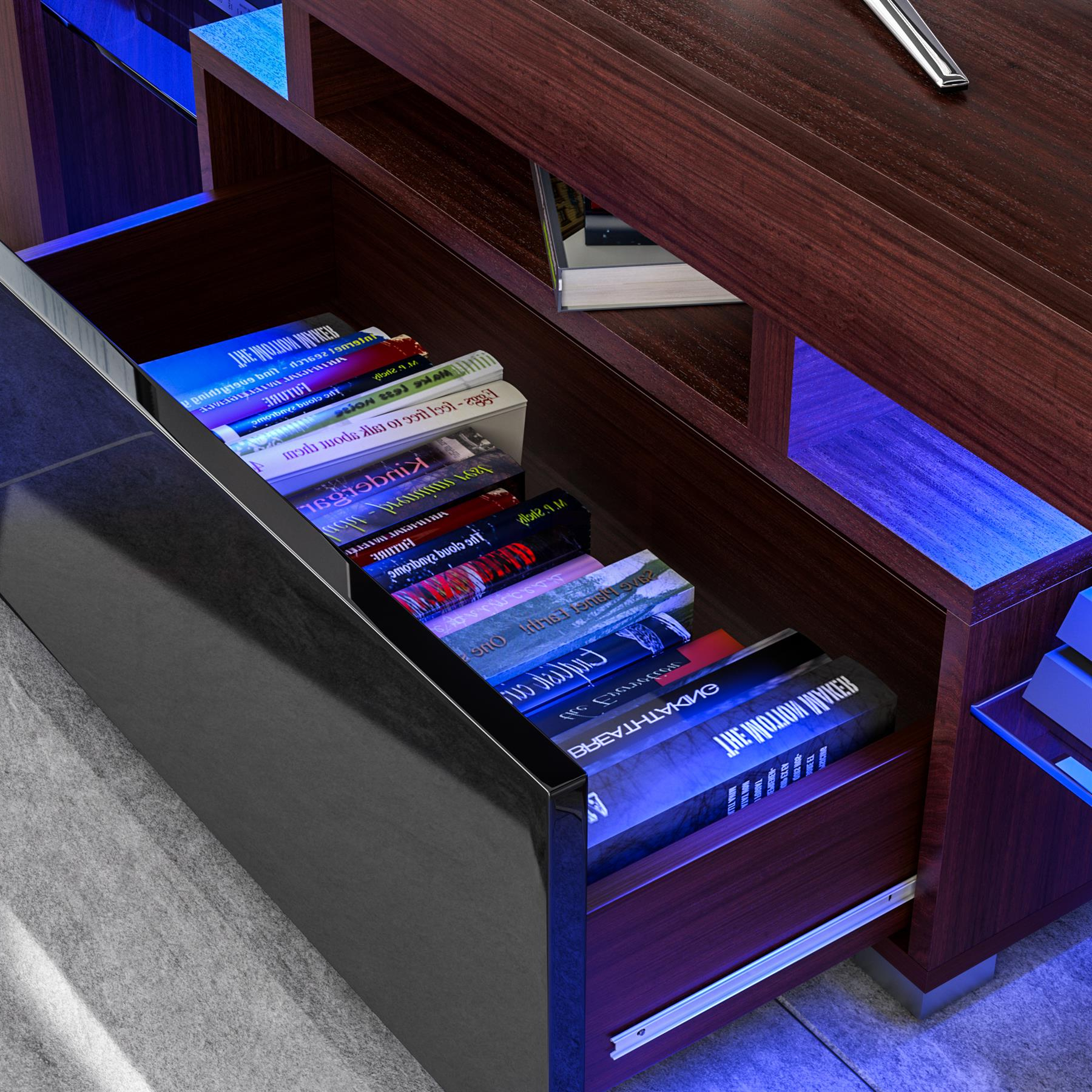 Luna Led Tv Stand Cabinet Unit 1 Drawer Modern Regarding Famous Zimtown Modern Tv Stands High Gloss Media Console Cabinet With Led Shelf And Drawers (View 9 of 10)