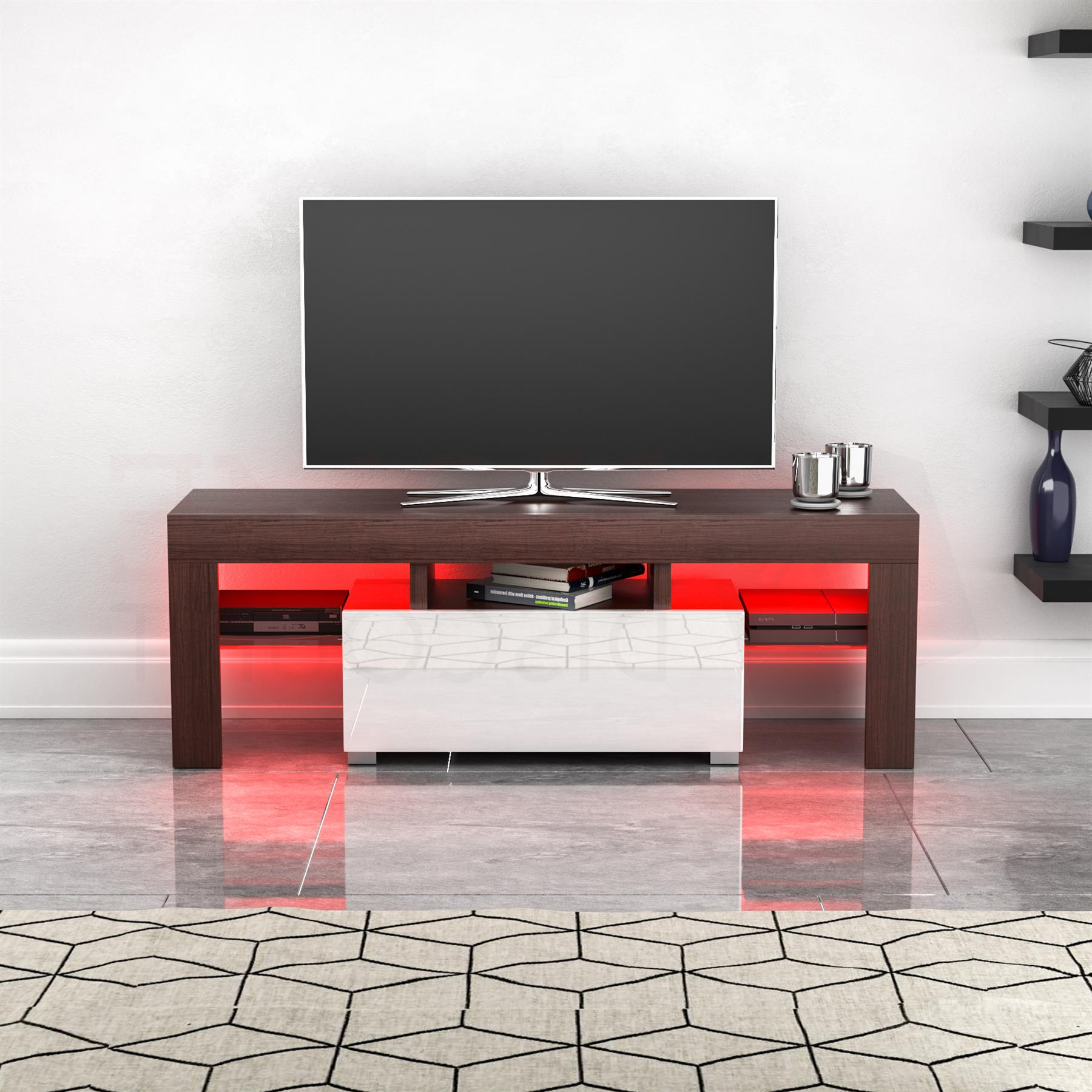 Luna Led Tv Stand Cabinet Unit 1 Drawer Modern Regarding Fashionable Zimtown Modern Tv Stands High Gloss Media Console Cabinet With Led Shelf And Drawers (View 2 of 10)