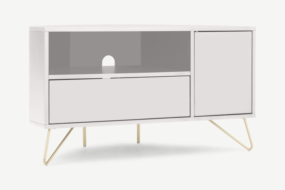 Made In Popular Compton Ivory Corner Tv Stands With Baskets (View 14 of 25)