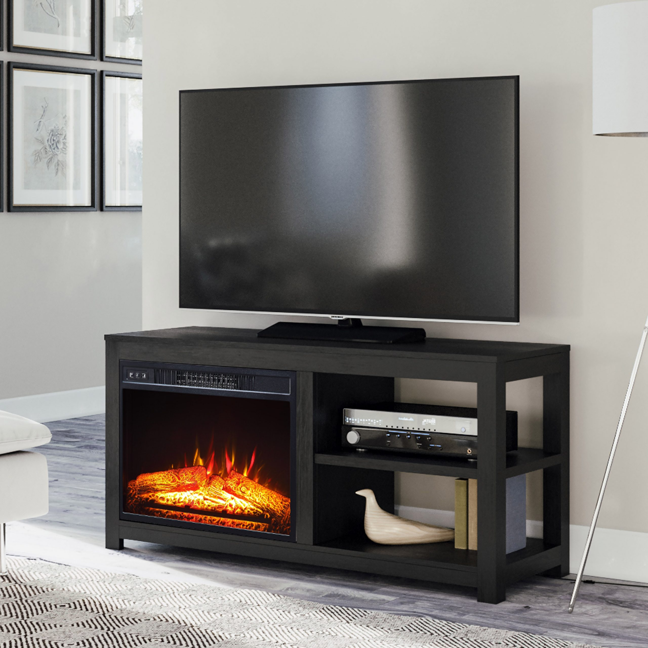 Mainstays 2 Shelf Media Fireplace Tv Stand For Flat Panel Regarding Newest Fireplace Media Console Tv Stands With Weathered Finish (View 6 of 10)