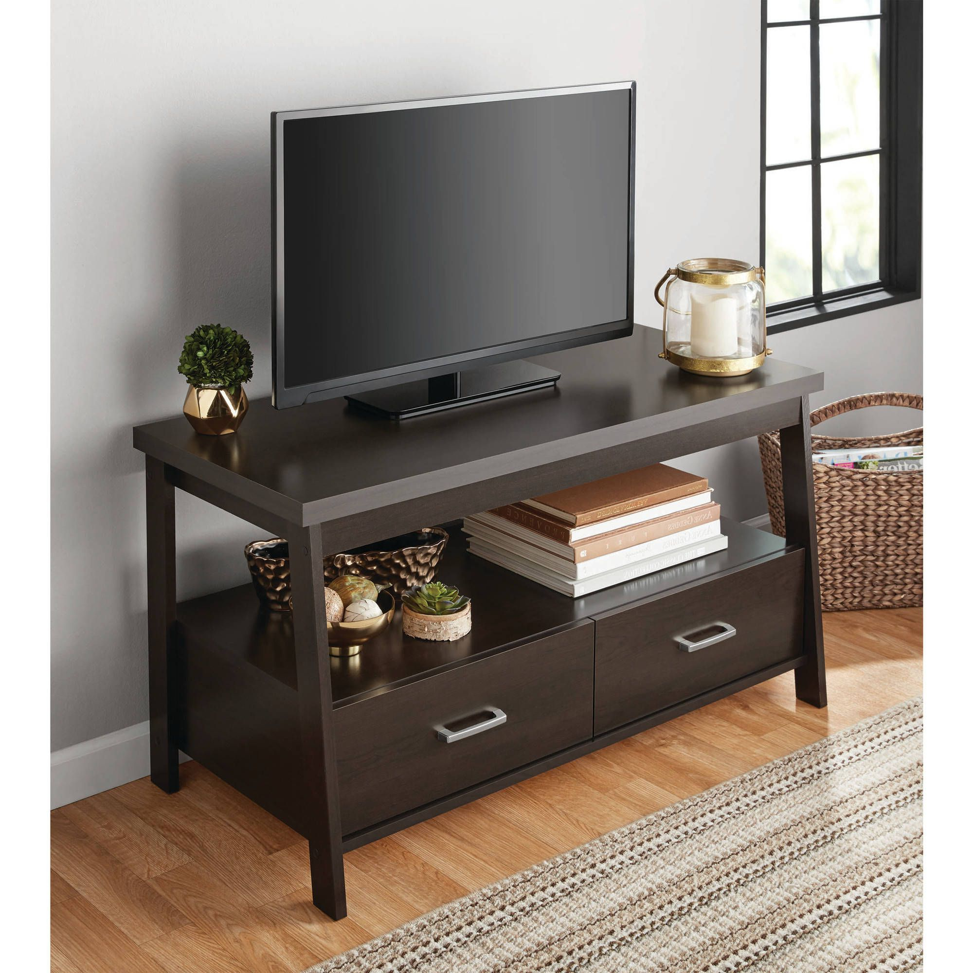 """Mainstays Logan Tv Stand For Tvs Up To 47"""", Espresso Throughout Famous Alden Design Wooden Tv Stands With Storage Cabinet Espresso (View 4 of 10)"""