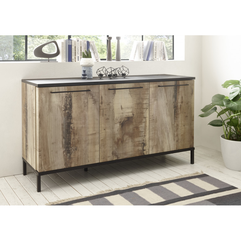 Mango 156cm Three Doors Sideboard In Black And Canyon Oak With Regard To Current Canyon Oak Tv Stands (View 7 of 10)