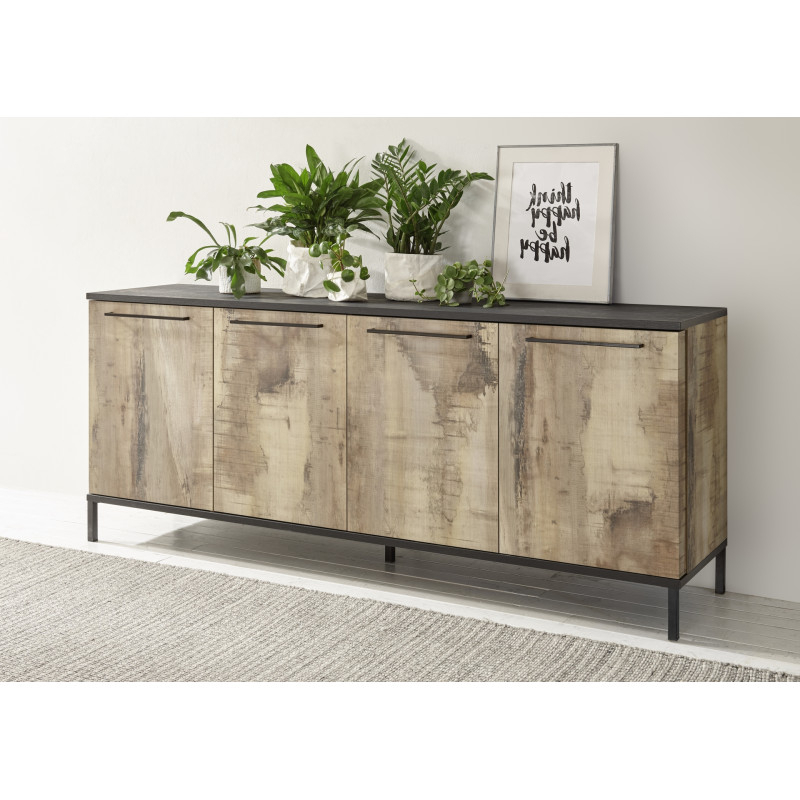 Mango Ii 207cm Sideboard In Black And Canyon Oak Finish With Regard To Most Recently Released Canyon Oak Tv Stands (View 6 of 10)