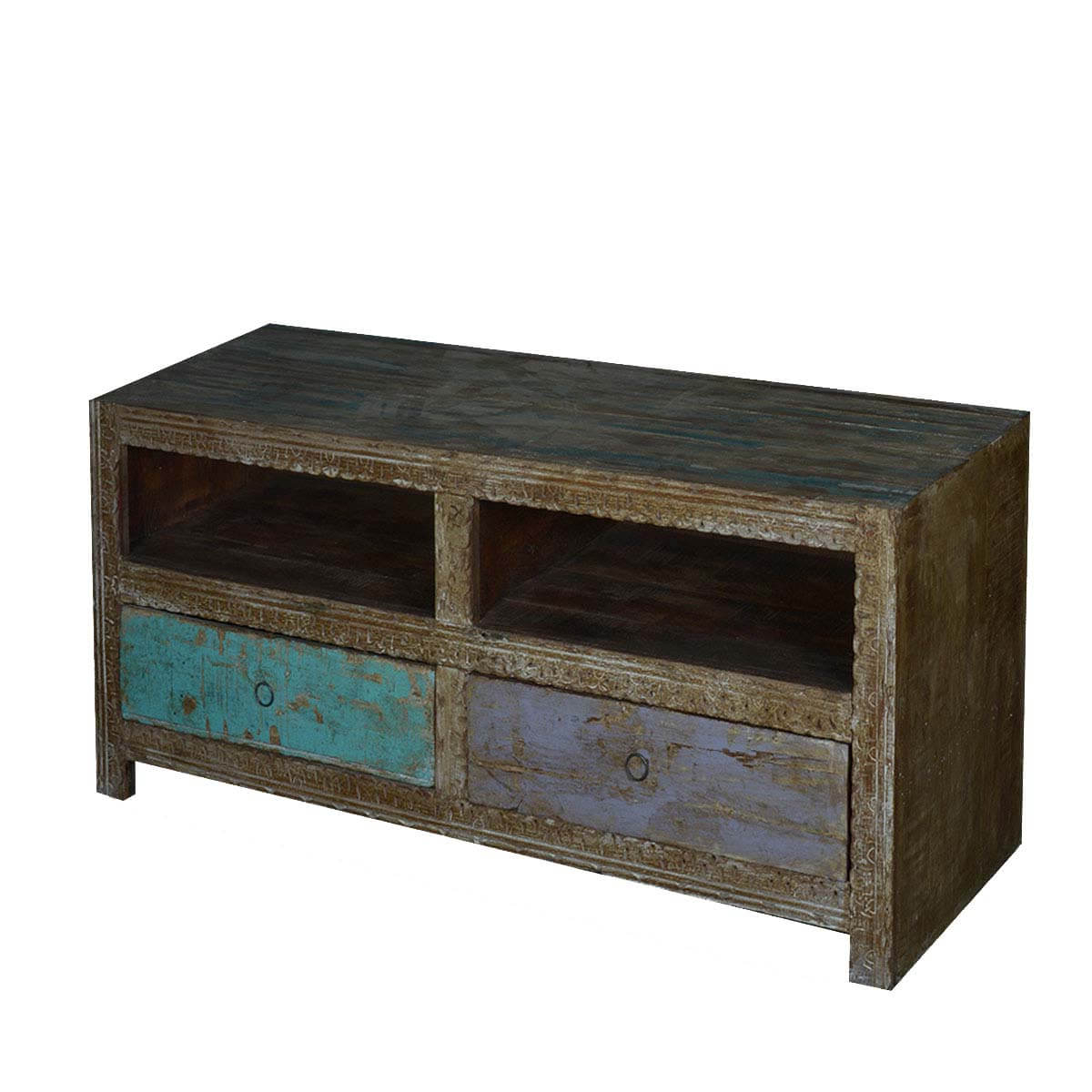 Manhattan 2 Drawer Media Tv Stands Throughout Most Up To Date Midnight Handcrafted Reclaimed Wood 2 Drawer Media Tv Stand (View 24 of 25)
