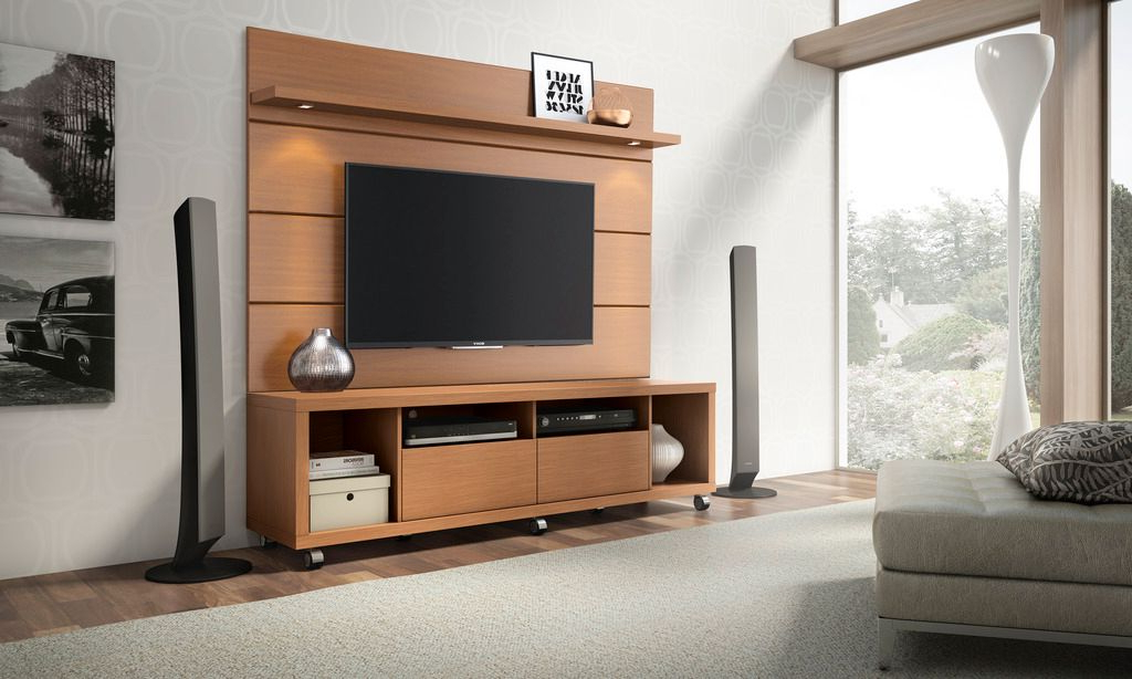 Manhattan Comfort Cabrini Tv Stand And Floating Wall Tv Inside Current Milano White Tv Stands With Led Lights (View 12 of 25)