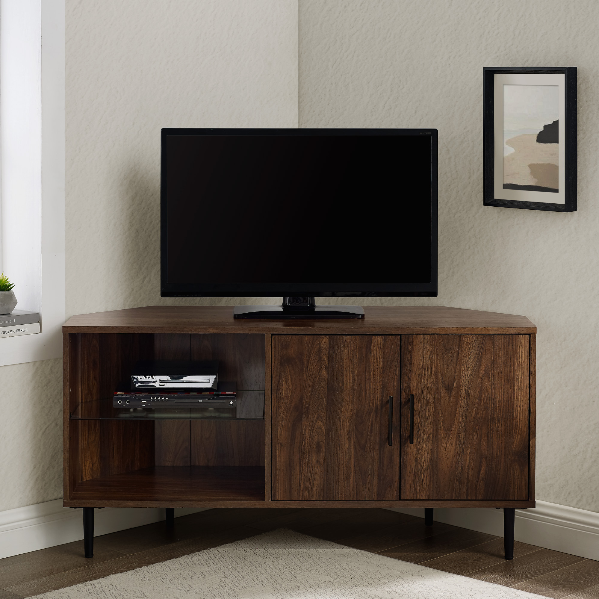 """Manor Park Basie 2 Door Corner Tv Stand For Tvs Up To 55 Throughout Well Known Twila Tv Stands For Tvs Up To 55"""" (View 3 of 25)"""