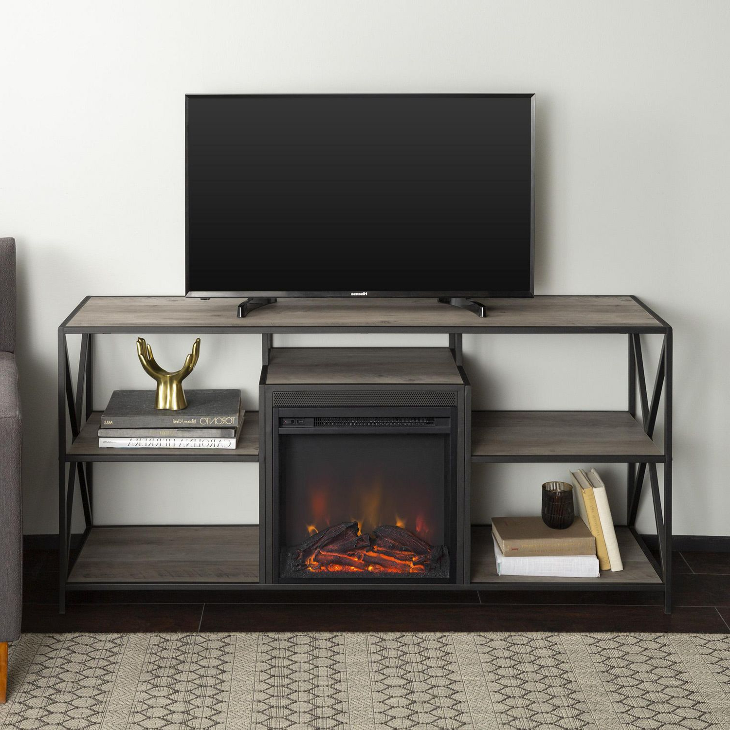 Manor Park Modern Industrial Fireplace Tv Stand For Tv's Regarding Recent Tv Stands With Led Lights In Multiple Finishes (View 3 of 10)