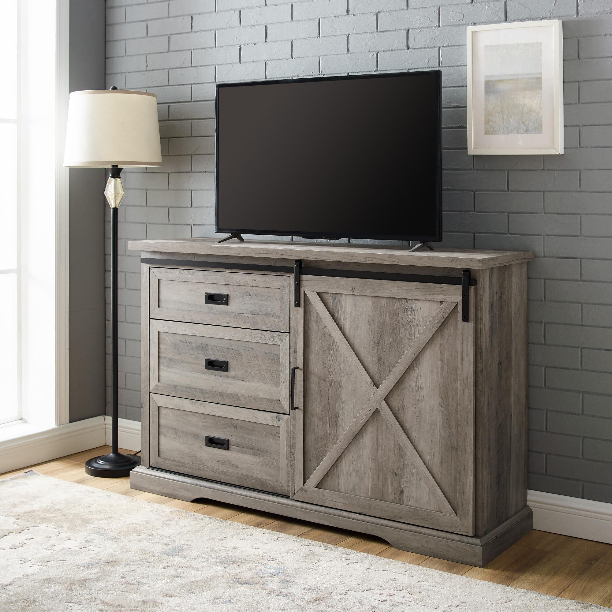 """Manor Park Sliding Door Tv Stand For Tvs Up To 60"""", Grey Within Trendy Modern Sliding Door Tv Stands (View 5 of 10)"""