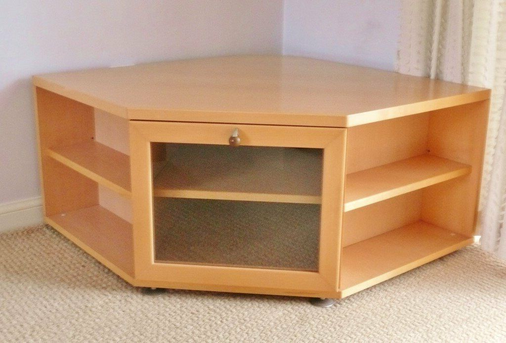 Maple Effect Tv / Television Corner Unit / Cabinet Stand With Well Known Fulton Oak Effect Corner Tv Stands (View 8 of 25)