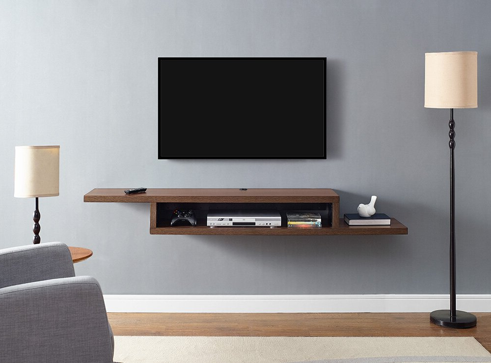 """Martin Home Furnishings Ascend 72"""" Asymmetrical Wall In Most Recently Released Floating Tv Shelf Wall Mounted Storage Shelf Modern Tv Stands (View 4 of 10)"""