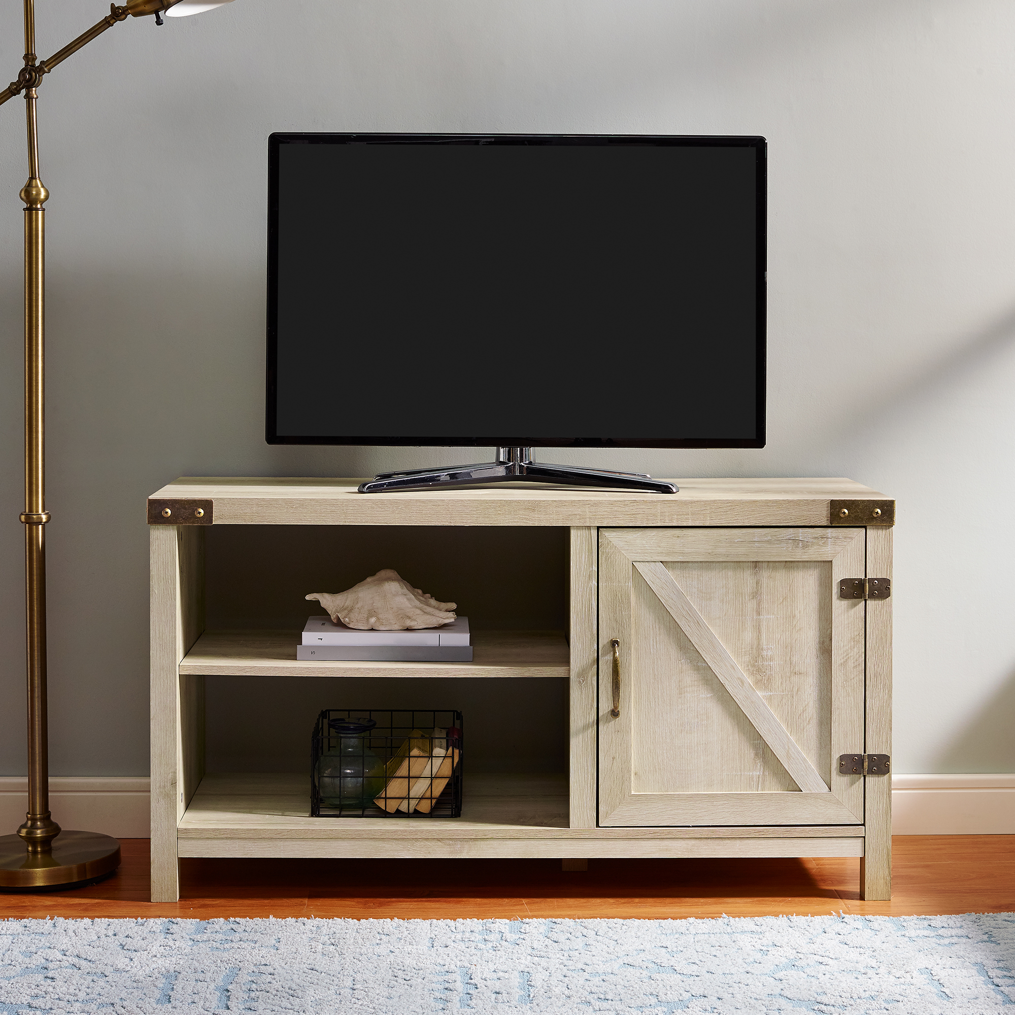 """Mclelland Tv Stands For Tvs Up To 50"""" For Well Liked Woven Paths Farmhouse Barn Door Tv Stand For Tvs Up To  (View 1 of 25)"""
