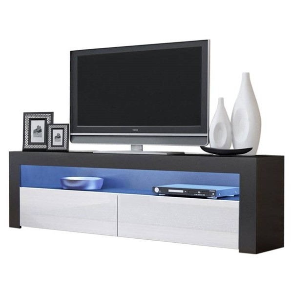 Meble Furniture Milano Classic Black White 63 Inch Tv Intended For 2017 Milano White Tv Stands With Led Lights (View 7 of 25)