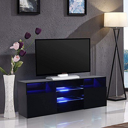 """Mecor High Gloss Tv Stand With Led Lights, 58"""" Tv Shelves Throughout Most Up To Date Zimtown Tv Stands With High Gloss Led Lights (View 5 of 10)"""