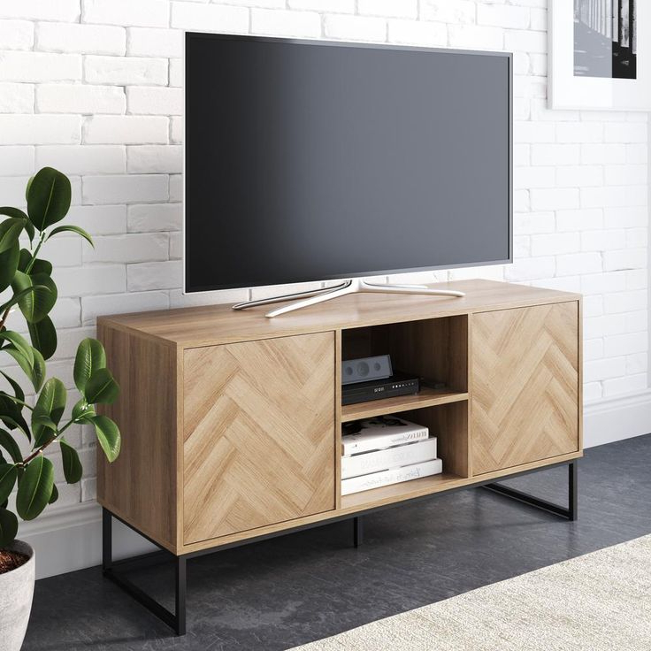 Media Console Cabinet Tv Stands With Hidden Storage Herringbone Pattern Wood Metal Within Trendy Nathan James Dylan 47 In (View 3 of 10)