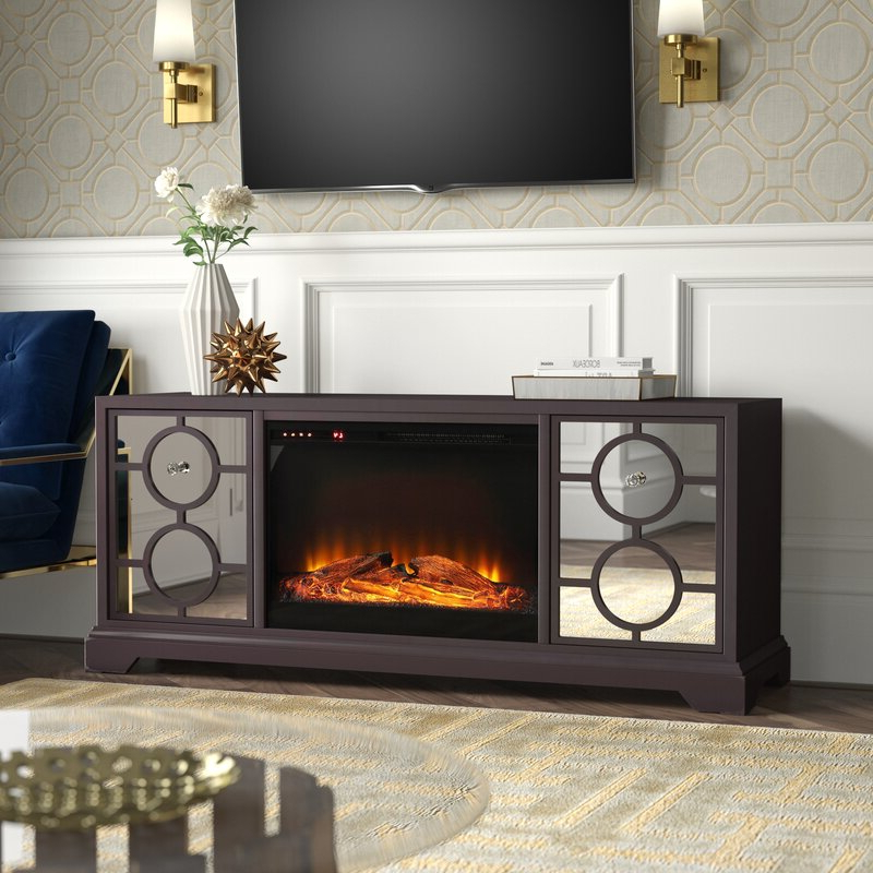 """Mercer41 Mcneal Solid Wood Tv Stand For Tvs Up To 70"""" With Within Well Known Hetton Tv Stands For Tvs Up To 70"""" With Fireplace Included (View 15 of 25)"""
