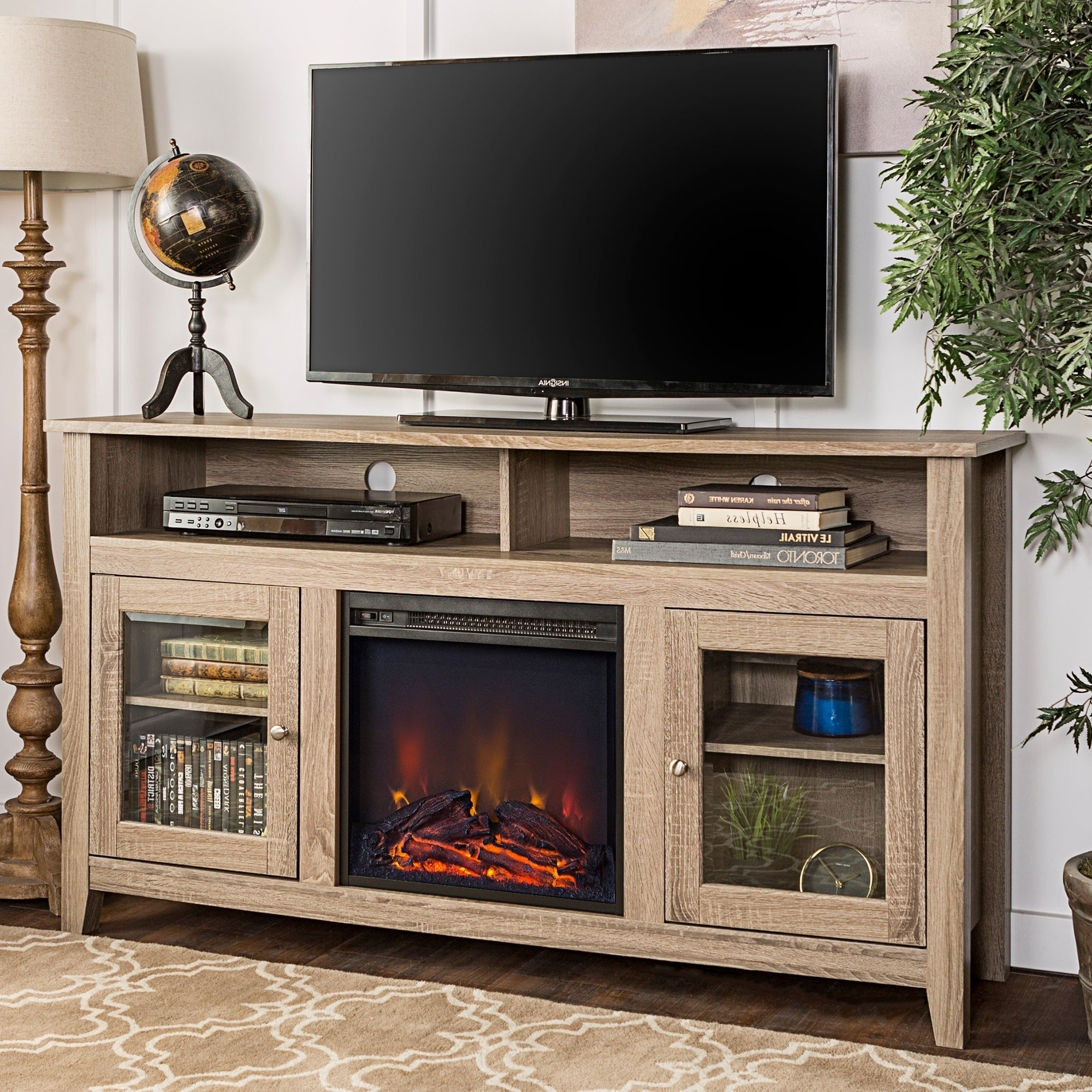 """Middlebrook Designs 58 Inch Driftwood Highboy Fireplace Tv Within Most Up To Date Broward Tv Stands For Tvs Up To 70"""" (View 3 of 25)"""