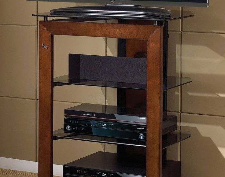 Milan Glass Tv Stands Intended For Most Recent Audio Component Stand Tv Media Rack Entertainment Glass (View 1 of 10)