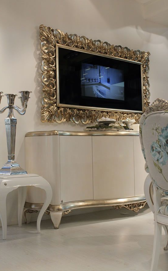 Milan Glass Tv Stands Pertaining To Widely Used Capri Mirror Frame With Tv Unveiled At Milan Design Week (View 9 of 10)