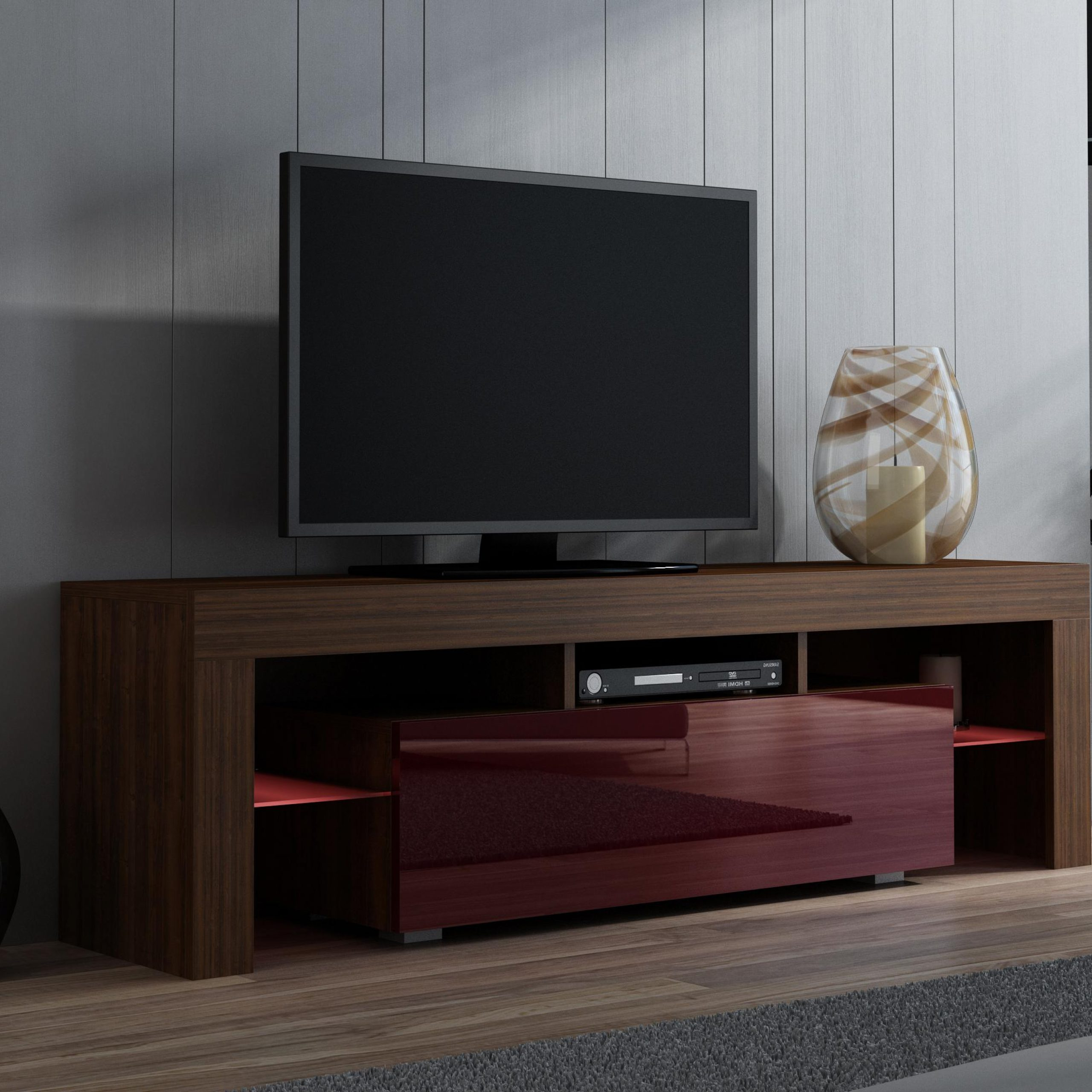 Milano 130 – Walnut Tv Console Table / Entertainment Tv Within Latest High Glass Modern Entertainment Tv Stands For Living Room Bedroom (View 2 of 10)