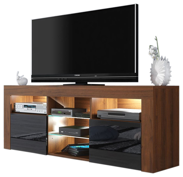 """Milano 145 Modern 57"""" Tv Stand Matte Body High Gloss With Most Up To Date Milano 200 Wall Mounted Floating Led 79"""" Tv Stands (View 4 of 10)"""